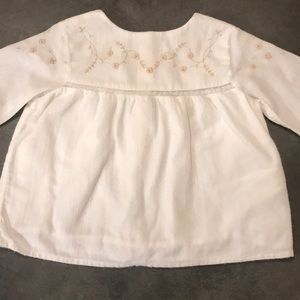 Zara white blouse with gold embroidery